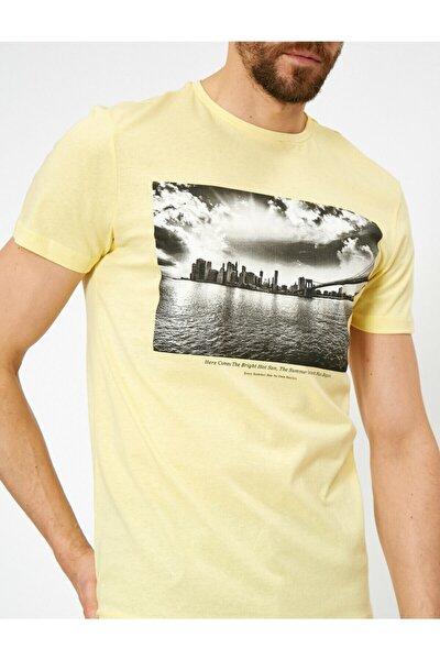 Erkek Sarı Yazili Baskili T-Shirt 0YAM11329MK