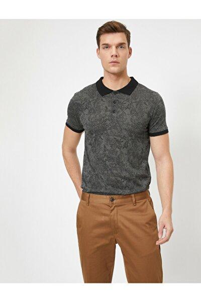 Erkek Siyah Desenli T-Shirt 0YAM11570LK