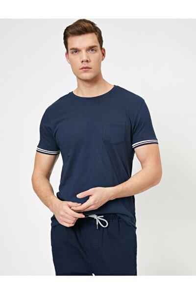 Erkek Lacivert Bisiklet Yaka Kolları Şeritli Cep Detaylı Slim Fit T-shirt
