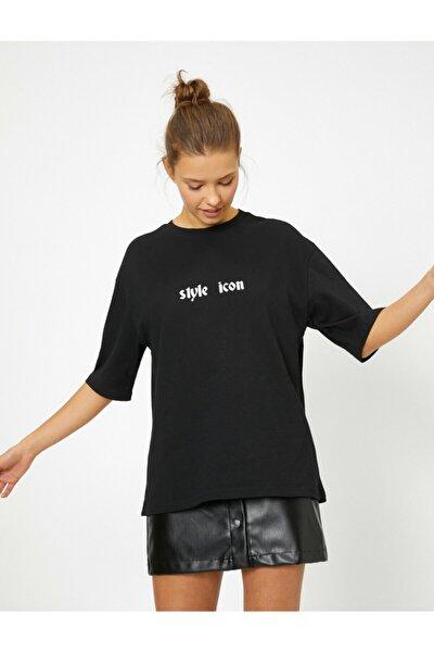 Kadın Siyah  Yazılı T-Shirt