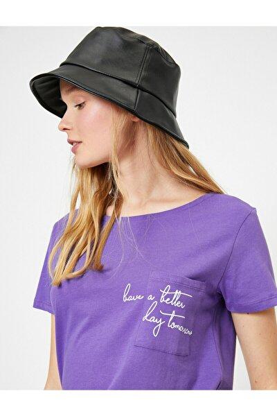 Kadın Mor Yazılı Baskılı T-Shirt
