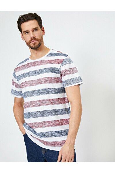 Erkek Beyaz Çizgili T-Shirt 0YAM14289OK