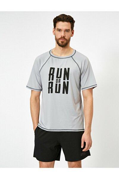 Erkek Gri Yazılı Baskılı T-Shirt 0YAM12413NK