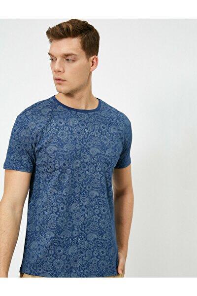 Erkek Lacivert Desenli T-Shirt 0YAM11963MK