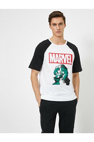 Erkek Beyaz Marvel Lisanslı Baskılı T-shirt