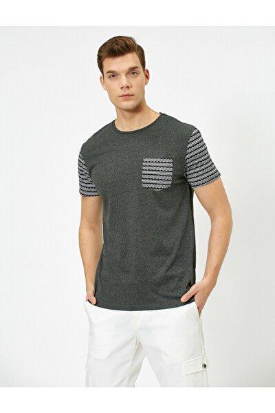 Erkek Gri Desenli T-Shirt