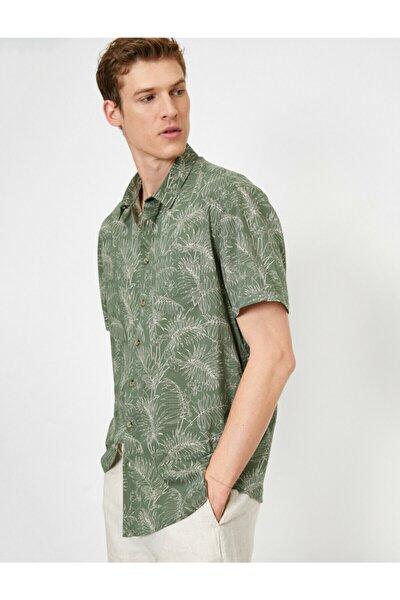 Erkek Yeşil Desenli Gömlek 0YAM61778BW