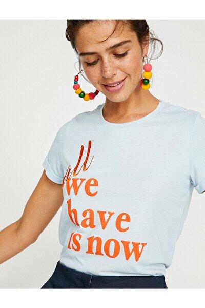 Kadın Mavi Yazili Baskili T-Shirt