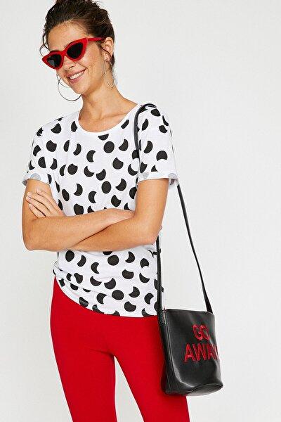 Kadın Beyaz Puantiyeli T-shirt