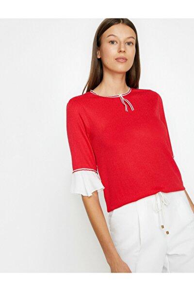 Kadın Kırmızı İnci Detaylı T-Shirt