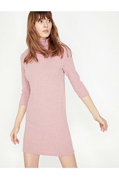 Kadın Pembe Boğazlı Elbise