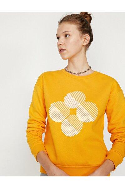 Kadın Sarı Baskılı Sweatshirt