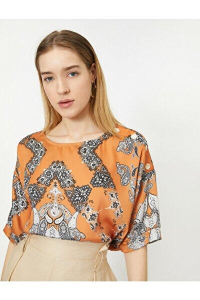 Kadın Turuncu Renkli Desenli Bluz 0KAK68841PW