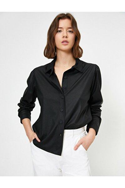 Kadın Siyah Klasik Yaka Gömlek