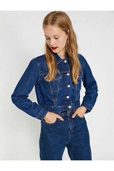 Kadın Mavi Dügme Detaylı Jean Ceket