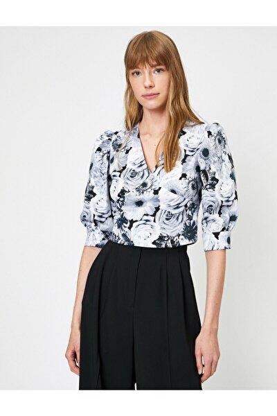 Kadın Siyah V Yaka Çiçek Desenli Balon Kollu Bluz