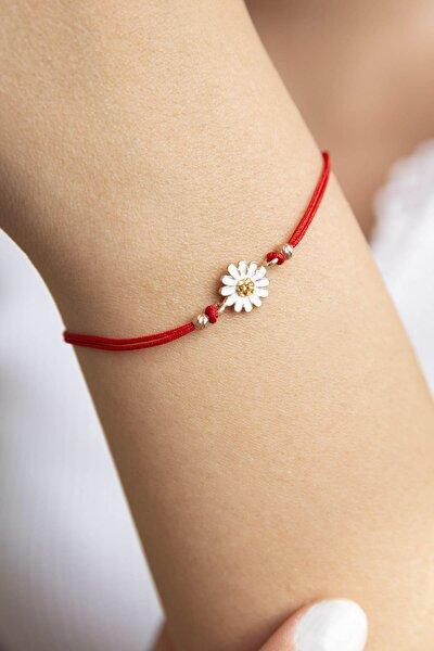 Papatya Model Kırmızı İpli 925 Ayar Gümüş Bileklik