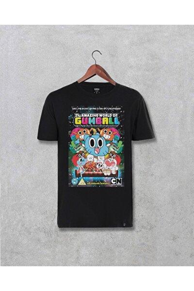 Unisex Siyah Gumball Karakterleri Tasarım Baskılı T-shirt