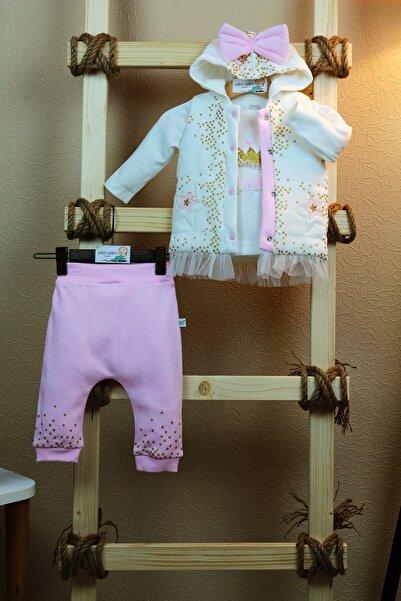 Kız Bebek Çocuk 3 Parça Takım Altın Yıldız Serisi %100 Pamuk