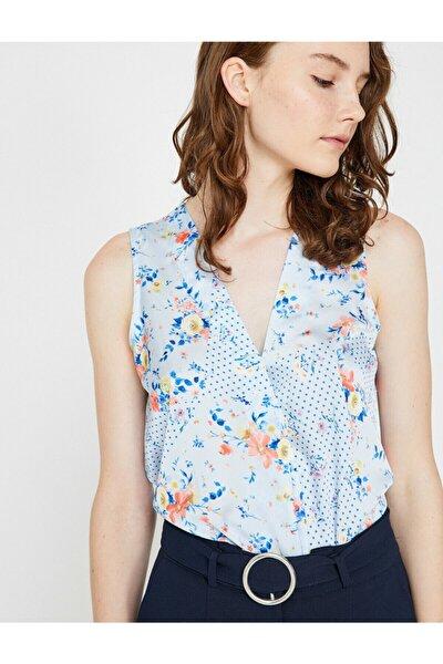 Kadın Mavi Desenli Bluz