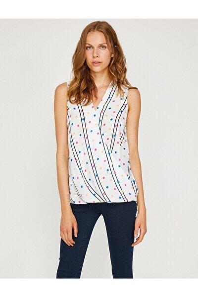 Kadın Beyaz Renkli Puantiye Ve Çizgi Detaylı Bluz 8YAK68536PW