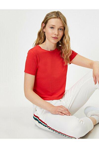 Kadın Kırmızı Bisiklet Yaka Kısa Kollu T-shirt