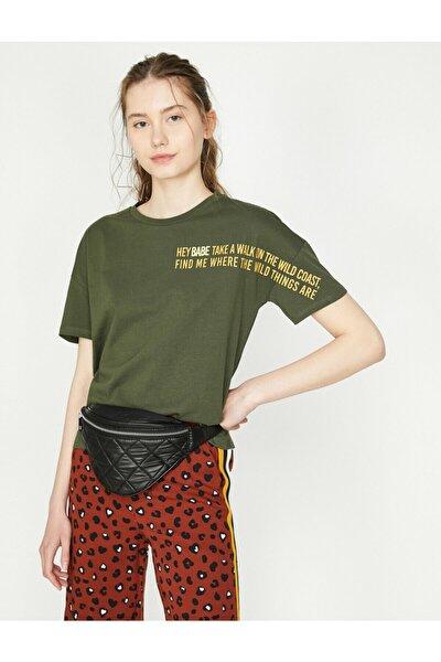 Kadın Yeşil Bisiklet Yaka Kısa Kollu T-Shirt 9YAL18444IK