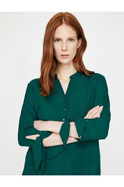 Kadın Yeşil Uzun Kollu Cep Detaylı Kol Detaylı Bluz