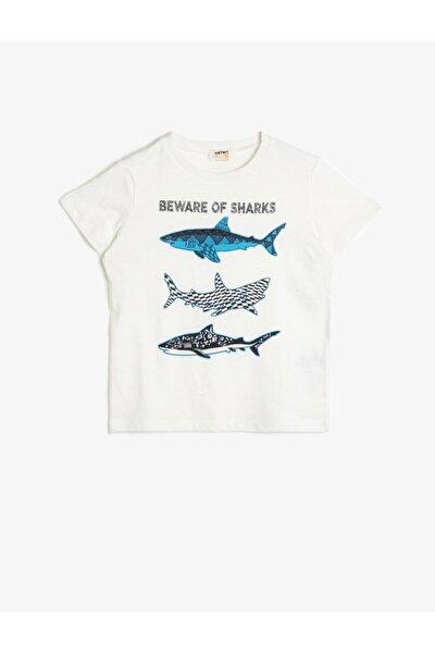 Erkek Çocuk Ekru Yazılı Baskılı T-Shirt