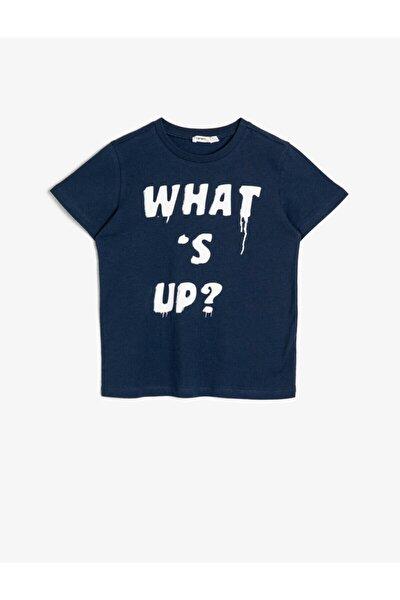 Erkek Çocuk Lacivert Baskılı Pamuklu Kısa Kollu Bisiklet Yaka T-shirt