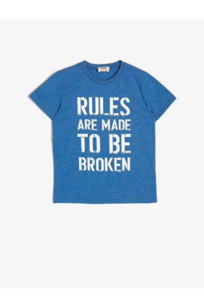 Çocuk Mavi Yazılı Baskılı T-shirt