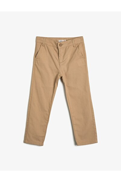 Erkek Çocuk Kahve Basic Chino Kesim Pamuklu Pantolon