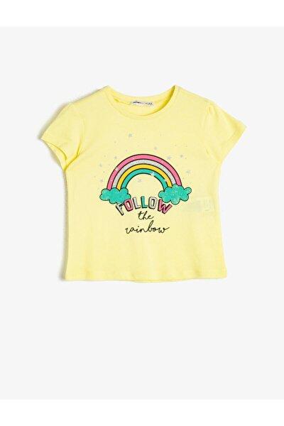 Kız Çocuk Sarı Simli Baskılı Bisiklet Yaka Kısa Kollu T-Shirt