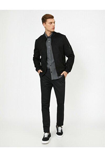 Erkek Siyah Cep Detaylı Pantolon 0YAM42500BW