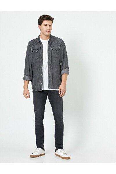 Erkek Gri Skinny Fit Jean Pantolon