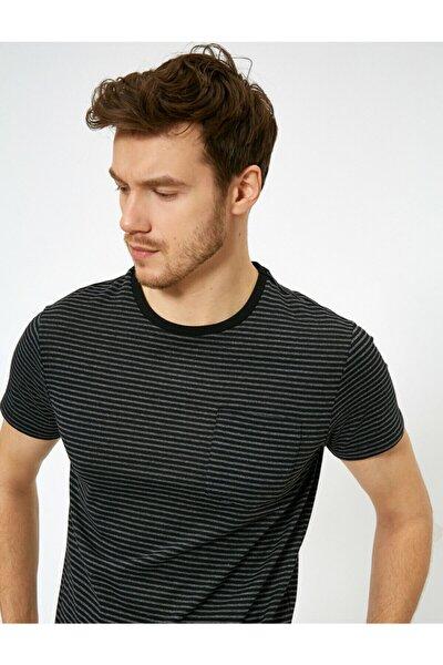 Erkek Siyah Cep Detayli T-Shirt 0YAM12068LK