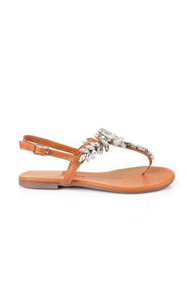 Lavin Hakiki Deri Taba Taşlı Sandalet