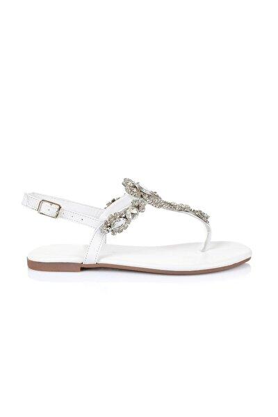 Lavin Hakiki Deri Beyaz Taşlı Sandalet