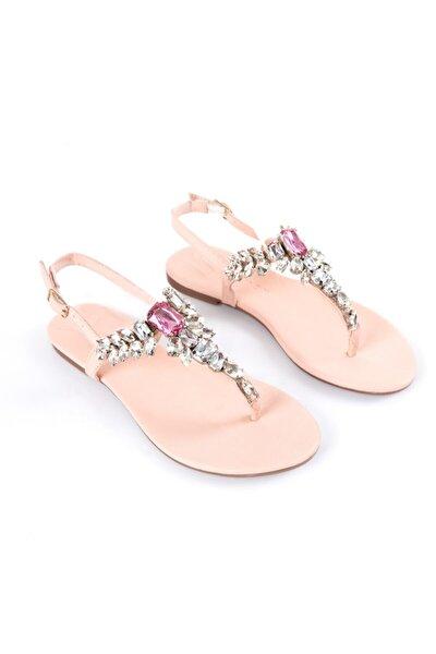 Lavin Hakiki Deri Pudra Taşlı Sandalet