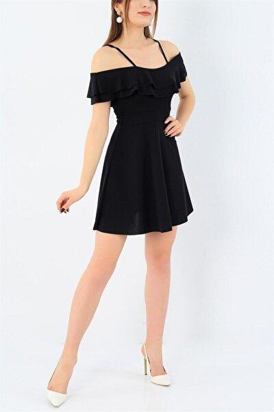 Esnek Krep Kumaş Yakası Iki Kat Volanlı Askı Detaylı Siyah Abiye Elbise Siyah Mezuniyet Elbisesi