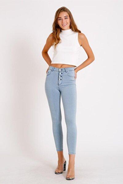 Kadın Buz Mavi Önü Düğmeli Yüksek Bel Kot Pantolon
