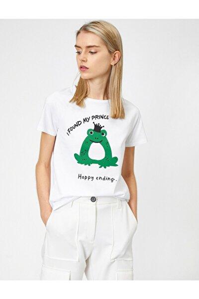 Kadın Ekru Yazili Baskili T-Shirt 0YAL18315IK