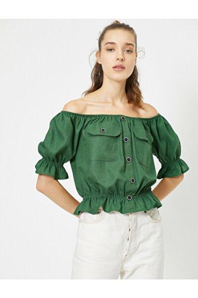 Kadın Yeşil Omzu Açık Cep Detaylı Kısa Kollu Düğme Detaylı Bluz