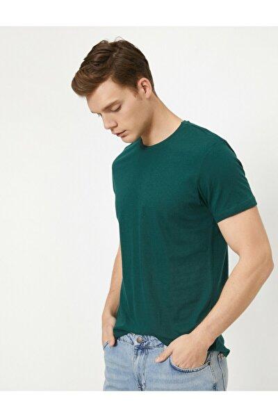Erkek Yeşil Bisiklet Yaka Slim Fit Basic T-Shirt