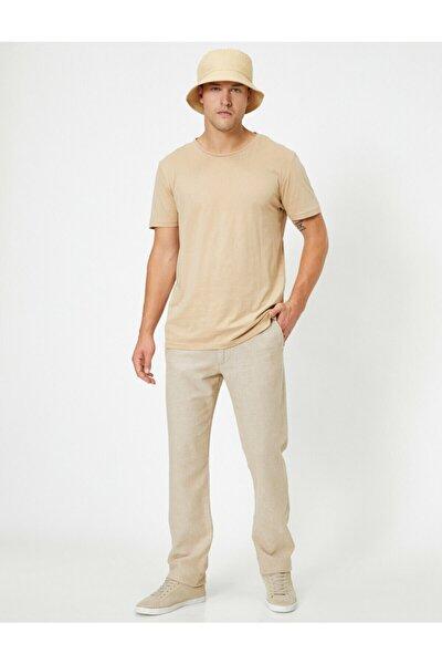 Erkek Ekru Keten Karisimli Slim Fit Dokuma Pantolon