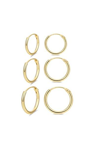 925 Ayar Saf Gümüş Altın Gold Rengi Sarı Halka Küpe Seti 3'lü Hoop Earing 12-14-16 Mm