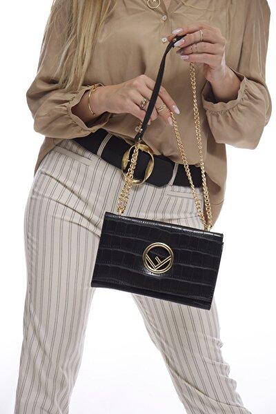 Kadın Siyah Zincir Askılı Çanta Fb3059