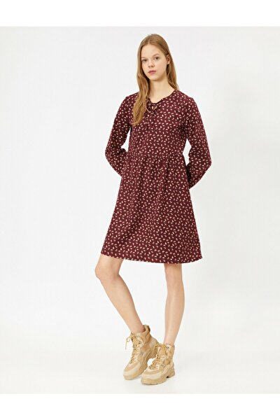 Kadın Bordo Desenli Elbise 0YAL88128OW
