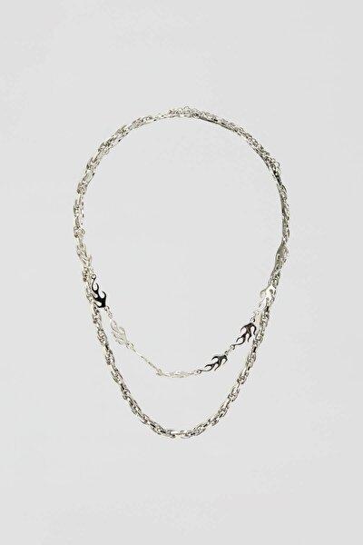 Kadın Gümüş Rengi Alev Kolye Seti 09996350