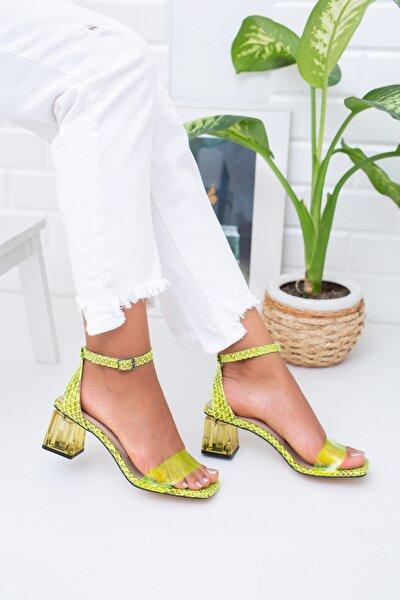 Fosforlu Yeşil Yılan Kadın Klasik Topuklu Ayakkabı Md1022-119-0006